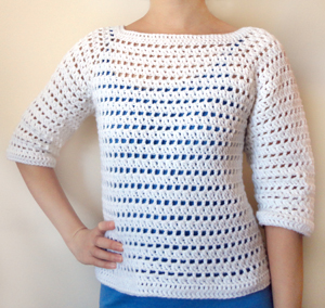 Crochet Pattern: Striped Eyelet Sweater (9 Sizes) Crochet Spot ...