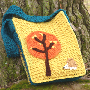 crochet woodland book bag