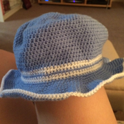 Here is Emily's very first crocheted hat.