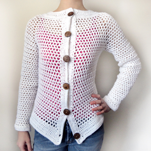 crochet mesh cardigan sweater