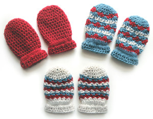 crochet light baby mittens