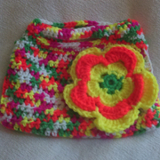This colorful bag by Susanne has a large flower.