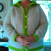 Carol's cardigan sweater turned out wonderfully.
