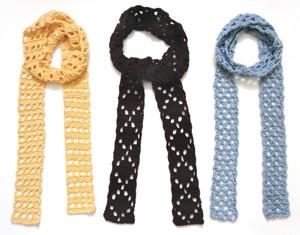 crochet eyelet skinny scarves