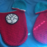 Susanne finished a pair of baby cocoons.