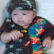 Susanne crocheted this baby hat and sweater set.
