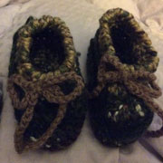 Carol crocheted these cute baby shoes.