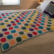 Mary finished crocheting this colorful blanket.