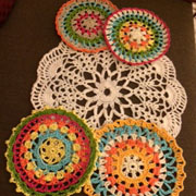 Varsha crocheted these beautiful and color mandalas.