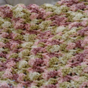 Carol made this pink and green variegated blanket.