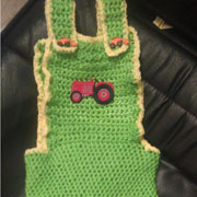 Susanne made these baby size tractor overalls.