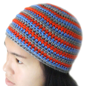 crochet unisex striped beanie