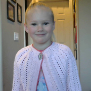 Molly crocheted this cardigan for her daughter.