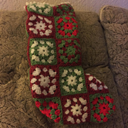 Reana crocheted this granny square Christmas stocking.