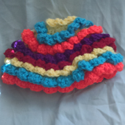 Susanne finished crocheted this colorful hat.