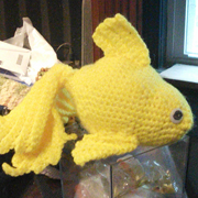 Penny finished crocheting this cute yellow fish.