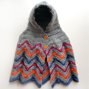 crochet hooded chevron poncho