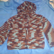 Susanne crocheted this variegated hooded sweater.