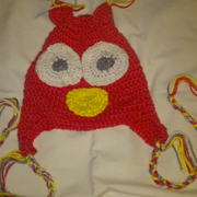 Susanne finished crocheting this owl hat.