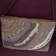 Varsha finished this lovely bag made with scrap yarn.