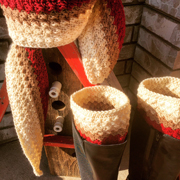 Debbie made this scarf and boot cuff set.
