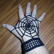 Daelynn crocheted these awesome spider web wristers.