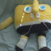 Here is a Sponge Bob toy in progress by Susanne.