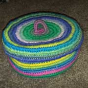 Rachel made this awesome, striped crochet basket.