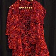 Fiona made this lovely, red Boho vest.