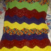 Susanne made this really colorful car seat cover.