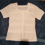 Jane finished this mesh striped cardigan.