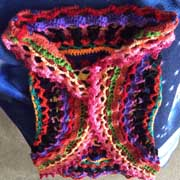 Fiona crocheted this colorful circle vest.