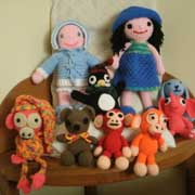 Ellen finished crocheting a lot of dolls and monkeys.