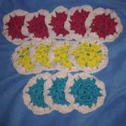 Susanne is working on these hexagon for a stocking.