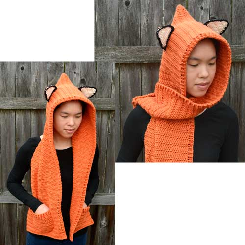 crochet hooded fox scarf