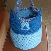 Patricia finished crocheting this owl basket.