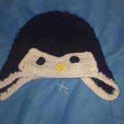 Susanne crocheted this cute penguin hat.