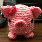 Check out this adorable piglet that Andree crocheted.