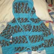 Susanne finished this blue hooded sweater.
