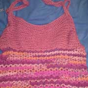 Susanne crocheted this pink tank top for herself.