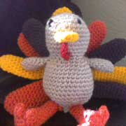 Tanya finished crocheting this adorable turkey.