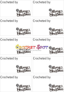 3 Merry Christmas Crocheted by Free Downloadable Labels in Black by Caissa McClinton @artlikebread for @crochetspot