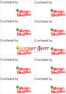 5 Merry Christmas Crocheted by Free Downloadable Labels in red and green by Caissa McClinton @artlikebread for @crochetspo 1t