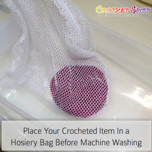 Place Your Crocheted Item in a Hoisery Bag before Machine Washing Laundry Tips by Caissa McClinton @artlikebread on @crochetspot