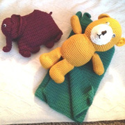 Carol crocheted this bear, elephant and blanket.