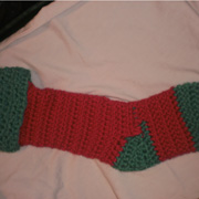 Susanne finished her crochet Christmas stocking.
