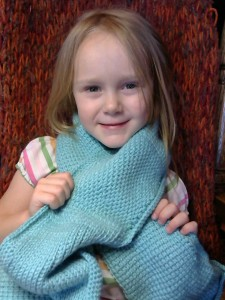 Abby wearing my Tunisian Crochet Sampler Scarf