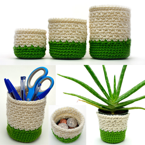 crochet mini storage containers