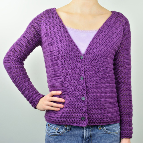 crochet v neck cardigan sweater