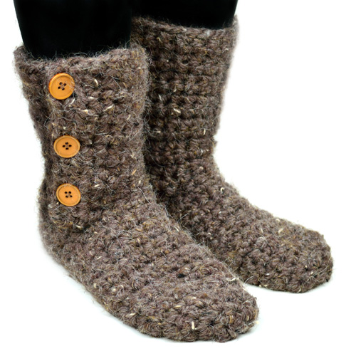 crochet buttoned slipper booties